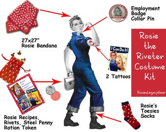 "ROSIE the RIVETER Costume Kit. ""We Can Do It!"" WW2 Red and White Polkadot Rosie Accessories. Authentic. Retro Rosie Cosplay. Rockabilly"