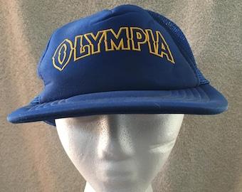 Vintage Olympia Beer Snapback Trucker Mesh Hat Cap - Washington Brewery