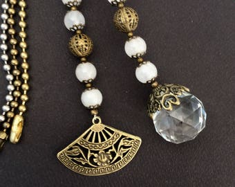 Light pull or ceiling fan pull set. Decorative ball chain pulls, white jade stone, Crystal and antique bronze pull chains.Victorian fan