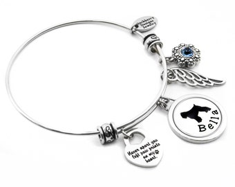 Pet Memorial Bangle Bracelet, Engraved Pets Name, Choice of Dog Breed, Pet Loss Bangle, Paw prints on my heart charm, Angel wing charm