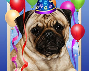 Pug Personalized Birthday Flags