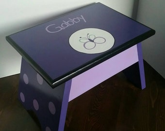 Nursery Stool - Purple Butterfly Footstool - Butterfly Step Stool -Purple Stool - Toddlers Stool - Step Stool - Bathroom Step Stool