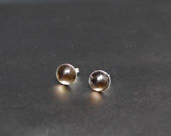 Faceted Smoky Quartz Sterling Silver Studs