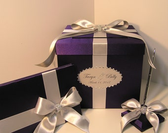 Wedding Card Box,3Sets,1tier Purple and Silver Card Box Guest book and Pen/Pen Holder.Gift Card Box Money Box Holder-Customize  color