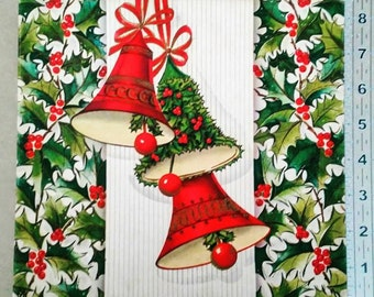 Vintage Christmas Card Box, Festive  1950's 1960's Bells and Holly