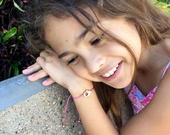 Girls Friendship Bracelet Hamsa Charm, Wish Bracelet, For Kids, Girls and Women, Adjustable, in 16 Colors