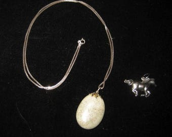 Sterling box chain with Aventurine drop and also silver tone horse charm southwestern jewelry