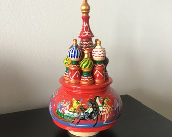 Collectible Russian MUSIC BOX- Saint Basil's Cathedral NEW with Nutcracker music!