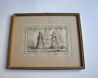 antique original engraving Tiniotes, Tinos island traditional costumes, Cyclades, Aegean sea, Greece framed