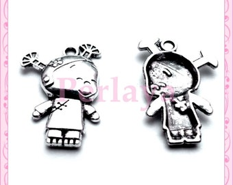 Set of 15 charms silver girls REF446X3