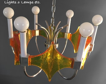 Mod Lucite & Chrome Chandelier by Moe