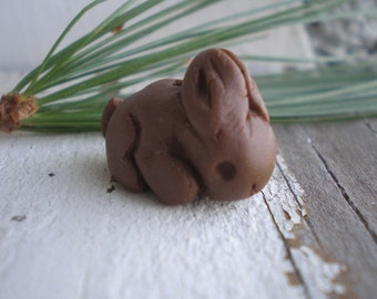 Chocolate Bunny-  tiny rabbit polymer clay charm. chocolate. rustic woodland. realistic bunny jewelry bead. Jettabugjewelry