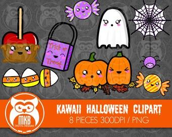 Premium Clipart - Kawaii Halloween Clipart - Cute Halloween Clipart - High Quality PNG Clipart- 300DPI Clipart