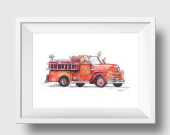 Fire Truck Print - Fire Truck Nursery Print - Fireman Gift - Art Print - Wall Art