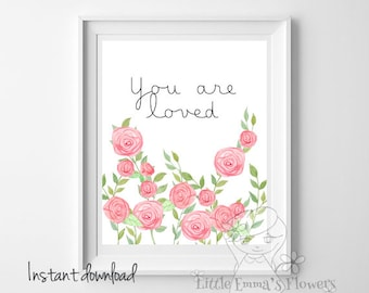 kids wall art inspirational quote love Playroom wall art Nursery decor You are loved print printable love art Nursery wall print  new1-103