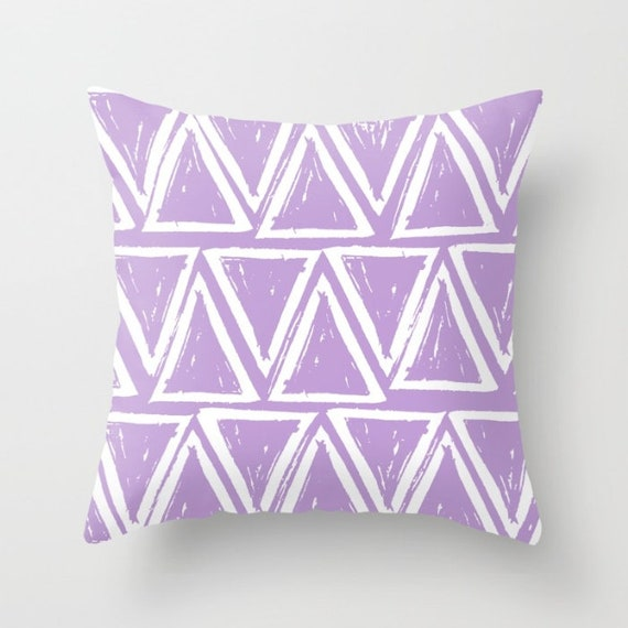 OUTDOOR Throw Pillow . Lavender Outdoor Pillow . Lavender patio cushion . Modern Geometric Pillow Triangle . 16 18 20 inch . Lilac Rectangle