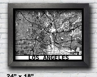 Los Angeles, California Map, Framed Laser Cut Map, Los Angeles Wall Art, Map of Los Angeles, 3D Street Map, 24x18 Map, 18x14 Map, 14x11 Map