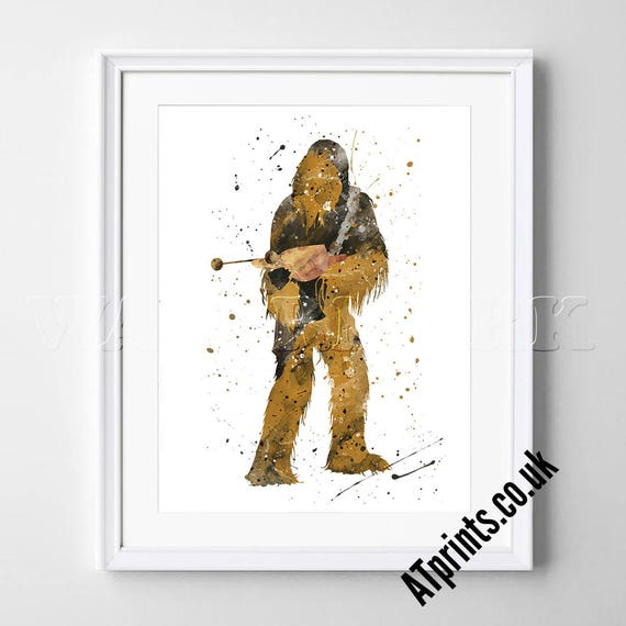 Chewbacca Star Wars Watercolor Poster Print