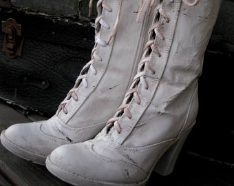 Granny Boots Prop | Home Decor |  Lace Up Boots  Antique White | Altered Vintage Look | Shabby Chic French Cottage | Home Decor