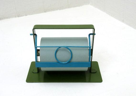 Vintage Office Takahashi Green Metal Desk Note Paper Roll Holder