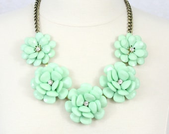 Mint Flower Necklace Statement Necklace Beaded Rose Necklace Peony Necklace Green Necklace