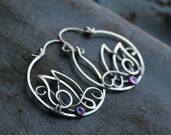 Amethyst silver earrings - Hoop earrings - February birthstone amethyst jewelry - Ultra Violet