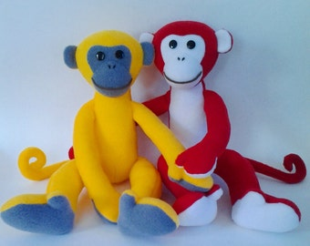 2016 Monkey Sewing Pattern, Soft Toy Sewing Pattern and Tutorial,  Plush toy pattern, Stuffed Toy sewing pattern, Monkey Pattern