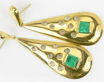14K Natural Emerald Yellow Gold Dangle Earrings, Solid Gold Emerald Earrings, Emerald Earrings, Emerald Studs, Drop Dangle Emerald Earrings