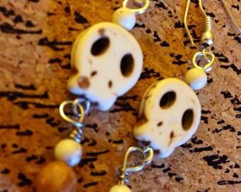 Handmade Flat Skull Earrings