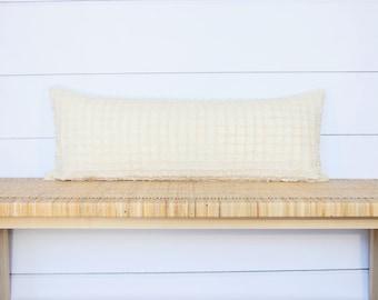 Fringe Lumbar Pillow | Cream | 14x36 | No96