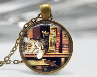 Library Book Necklace Cat Jewelry Bibliophiles Librarians Bookworms Art Pendant in Bronze or Silver with Link Chain Included