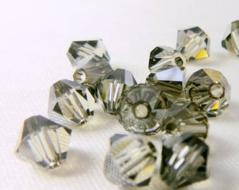 25 Black Diamond Satin 5mm Swarovski 5301 Bicone Jewelry Beads
