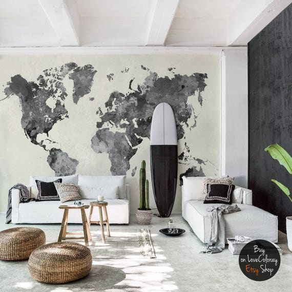 Vintage world map removable wallpaper pale wall mural peel gumiabroncs Images