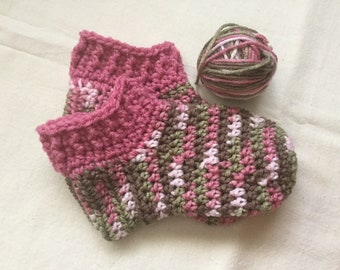 Pink Camo Booties, Bed Skippers, House Slippers, Crochet, Handmade in CA