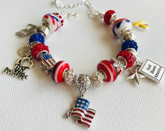 Patriotic Jewelry, USA Bracelet, American Flag Bangle, Military Wife, Mom, 4th of July Cuff, Veterans Day, Bracelet For Women, Handmade Gift