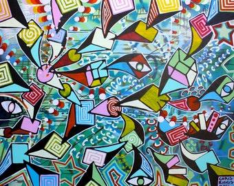 ORIGINAL surrealism abstract street art urban pop art acrylic painting