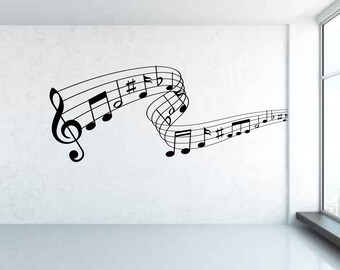 Musical Notes Wall Decal Sticker Art. Any colour and size.(#105)