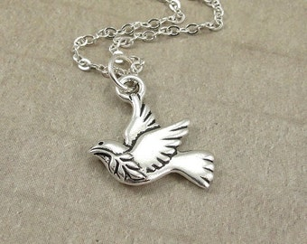 Peace Dove Necklace, Silver Peace Dove Charm on a Silver Cable Chain