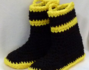 "Adult Firefighter Slippers Crochet Pattern for 10"", 11"" and 12"" feet pdf format permission to sell finished goods"