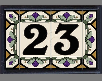 House Numbers Address Numbers Tiles Ceramic Framed Set - Cottage Style, Hex-Flowers