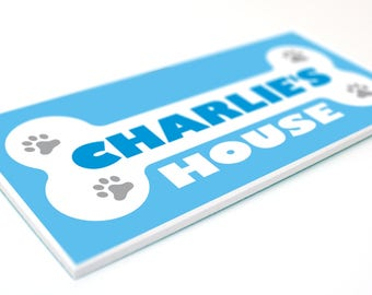 Dog House Name PLAQUE - Personalised pet home kennel bed indoor outdoor sign - BONE Design