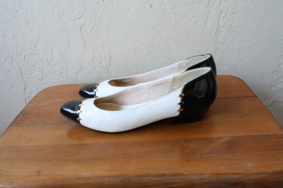 Gold Low 5 6 Heels Pumps Leather Vintage White Vintage White Vintage Patent Flats Black 1980s Heels Black Leather 80s Heels xaqRBBA