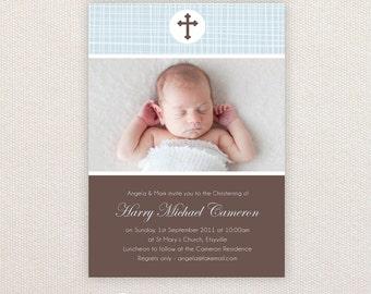 Boys Photo Christening/baptism Invitations. I Customize, You Print.