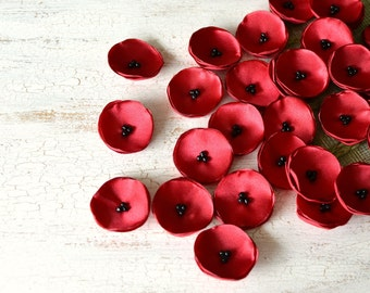 Tiny fabric flowers, mini satin flowers, fabric flowers, wedding flower, mini poppies, small flower embellishments (10pcs)- RED POPPIES