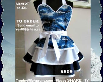 Apron # 509 - Dallas Cowboys flirty funky retro hostess apron