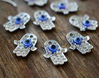 Silver Hamsa & Evil Eye Pendant, 18x22mm, 2 pieces / Rhinestone Hamsa Charm, Evil Eye Charm, Hand of Fatima Pendants, Jewelry Supplies