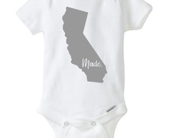 California Made, State Made, California onesie, Custom Onesie, baby onesie, onesie, baby shower gift, newborn gift, Cali Made, baby gift