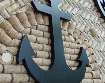 Painted wooden anchor.  Wall decor.
