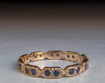 Eternity ring -  Blue Sapphire stone ring - thin band - dainty gold ring - stacking ring