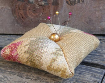Pincushion Golden Earth Tone Pincushion with Round Gold Ball Button, Approx. 4  in X 4 in